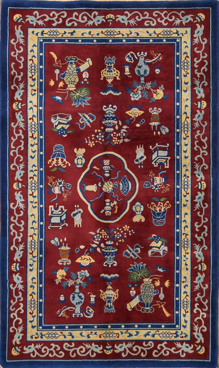 4'11 x 8'4 Hand-knotted Wool Semi-Antique Chinese Art Deco Peking Rug 12980508 (1)