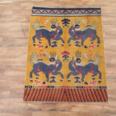 "5' x 6'6"" Hand-knotted Antique Wool Chinese Art Deco Nichols Pictorial Qilin Rug Tapestry Wall Hanging 12980522"