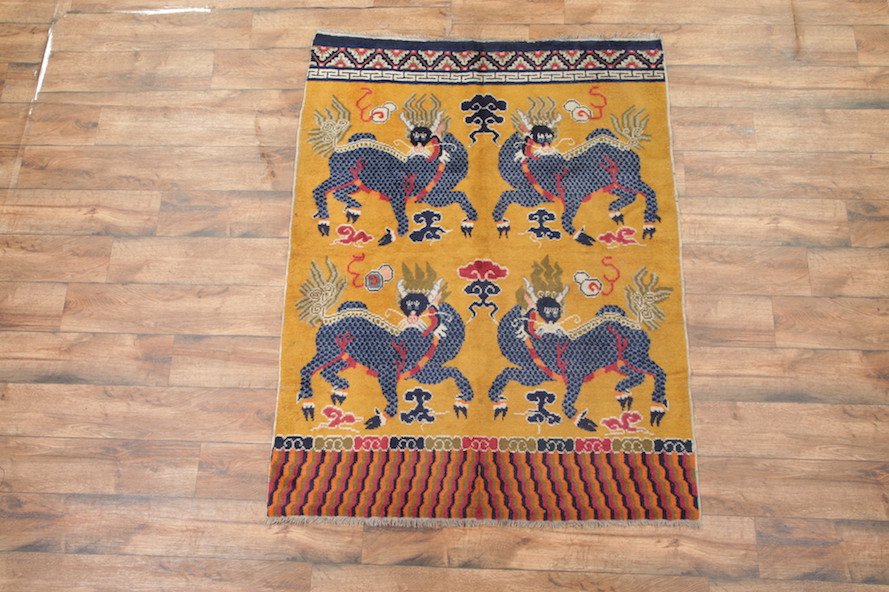 5′ x 6'6 Hand-knotted Antique Wool Chinese Art Deco Nichols Pictorial Qilin Rug Tapestry Wall Hanging 12980522