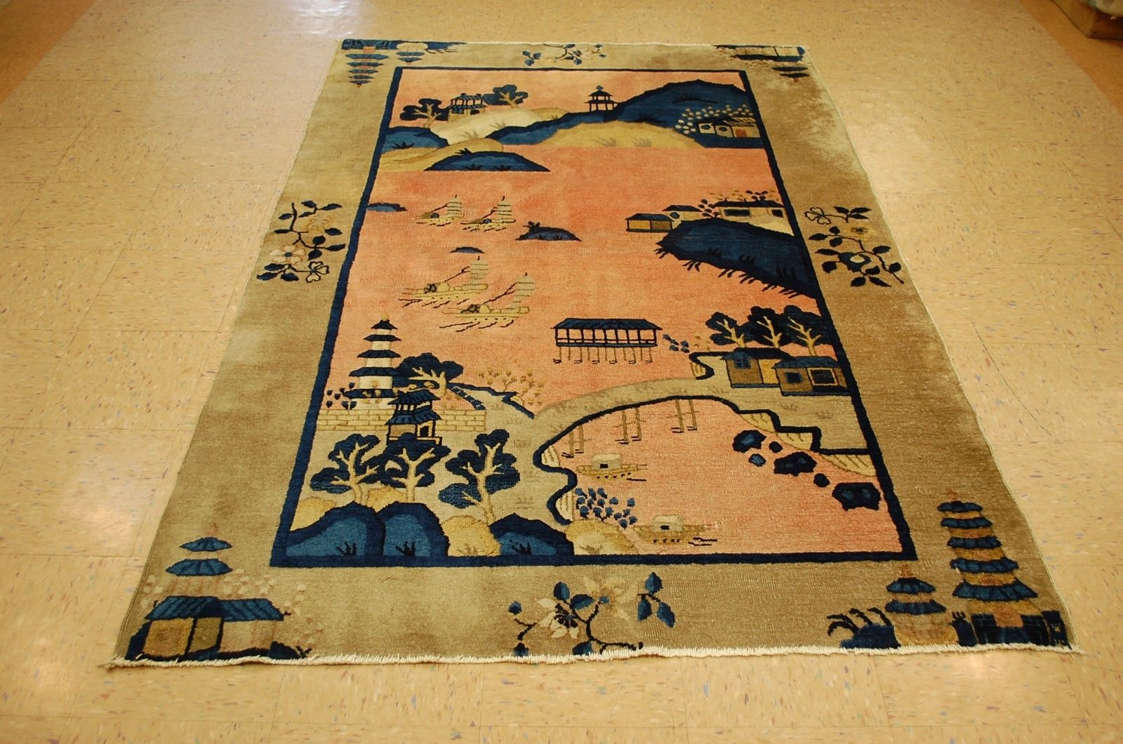 5′ x 7'8 Hand-knotted Circa 1910's Antique Wool Chinese Art Deco Peking Scenery Rug Tapestry Wall Hanging 12980552 (9)