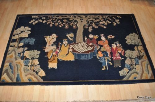 Pre 1900 Antique Wool Chinese Art Deco