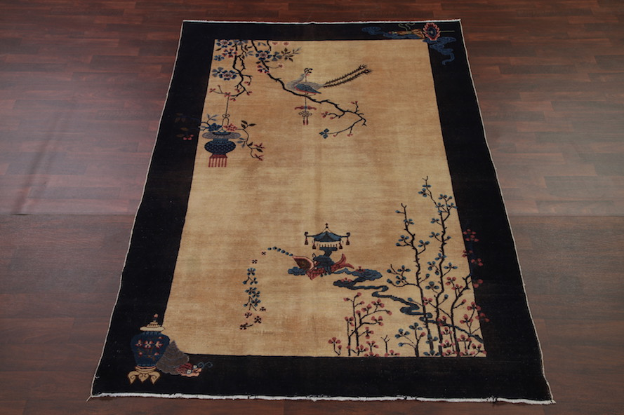 5'10 x 8'5 Hand-knotted Antique Wool Chinese Art Deco Nichols Pictorial Rug Tapestry Wall Hanging 12980532 (1)