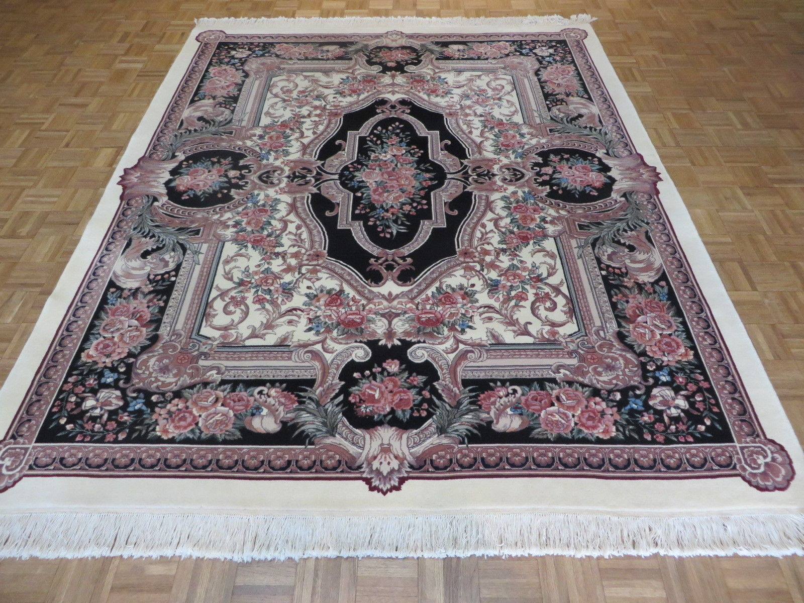 8 X 10 Hand Knotted Ivory Black Aubusson Oriental Area Rug 12980453 Goodluck Rugs