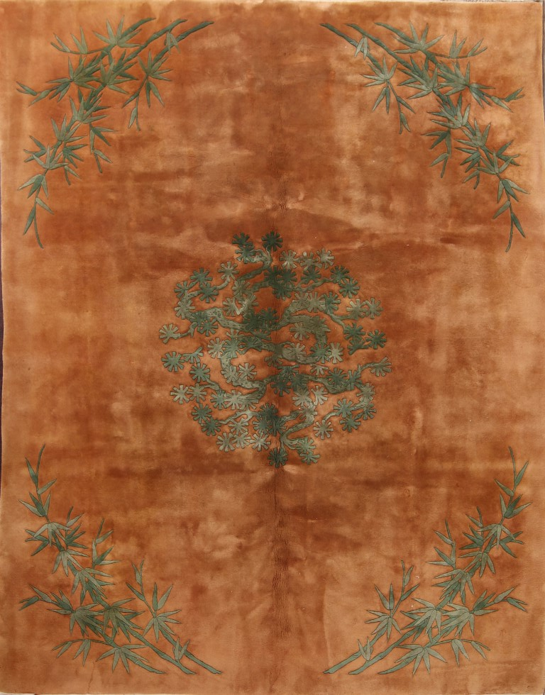 8′ x 10'3 Hand-knotted Wool Semi-Antique Chinese Art Deco Rust Green Rug 12980521 (1)