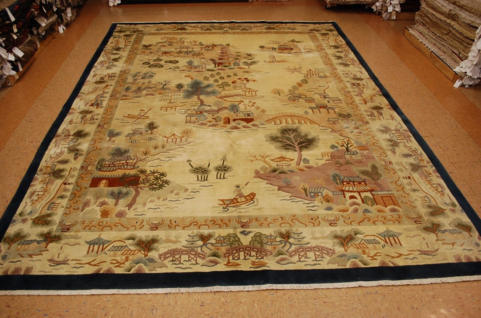 8'10 x 11'9 Hand-knotted Circa 1960's Vintage Wool Chinese Art Deco Village Life Scenery Rug Tapestry Wall Hanging 12980554 (1)