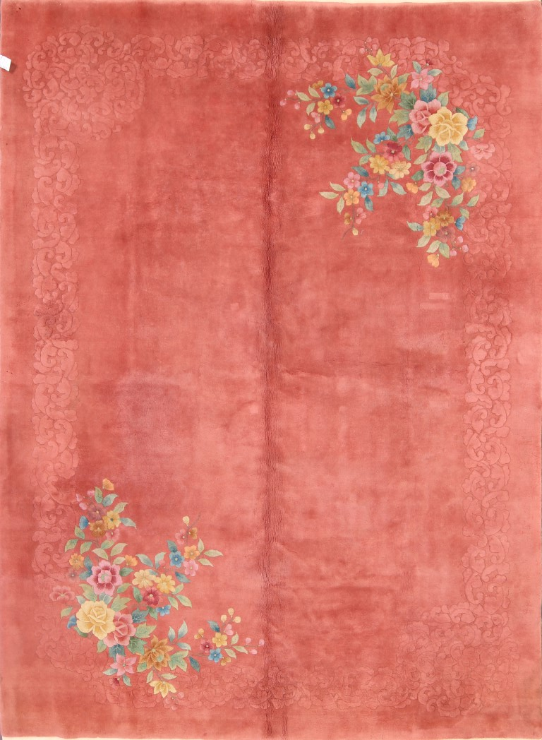 8'10 x 11'9 Hand-knotted Wool Semi-Antique Chinese Art Deco Red Peking Rug 12980523 (1)