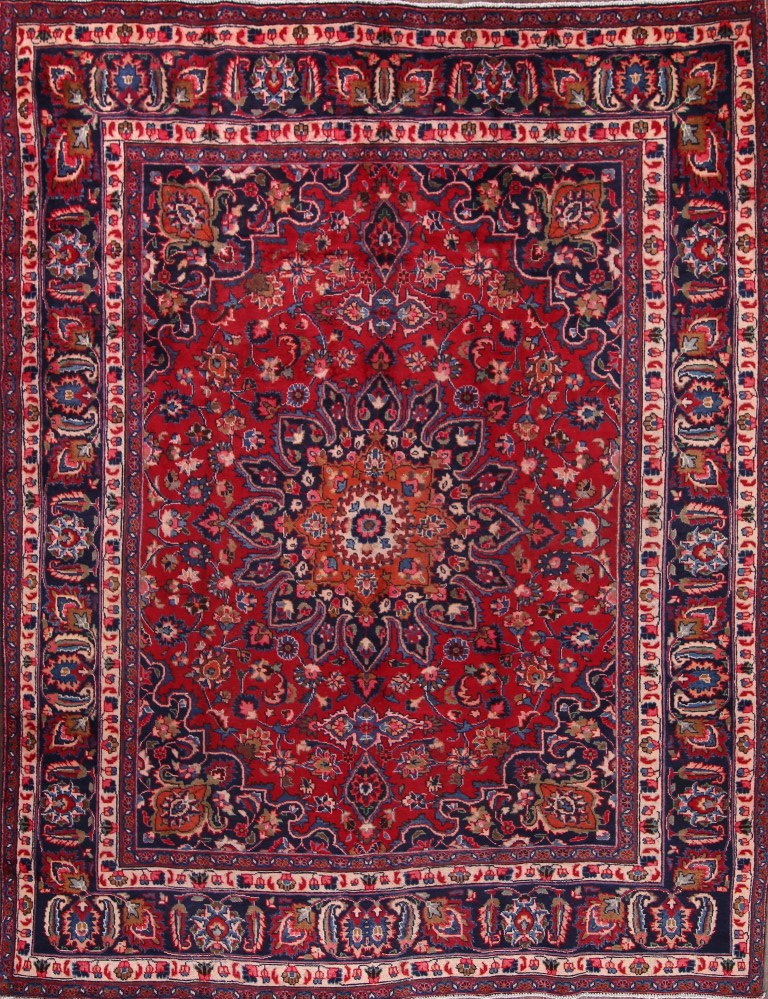 8'11 x 11'5 Hand-knotted Semi-Antique Red Navy Persian Mashad Oriental Area Rug 12980474 (1)