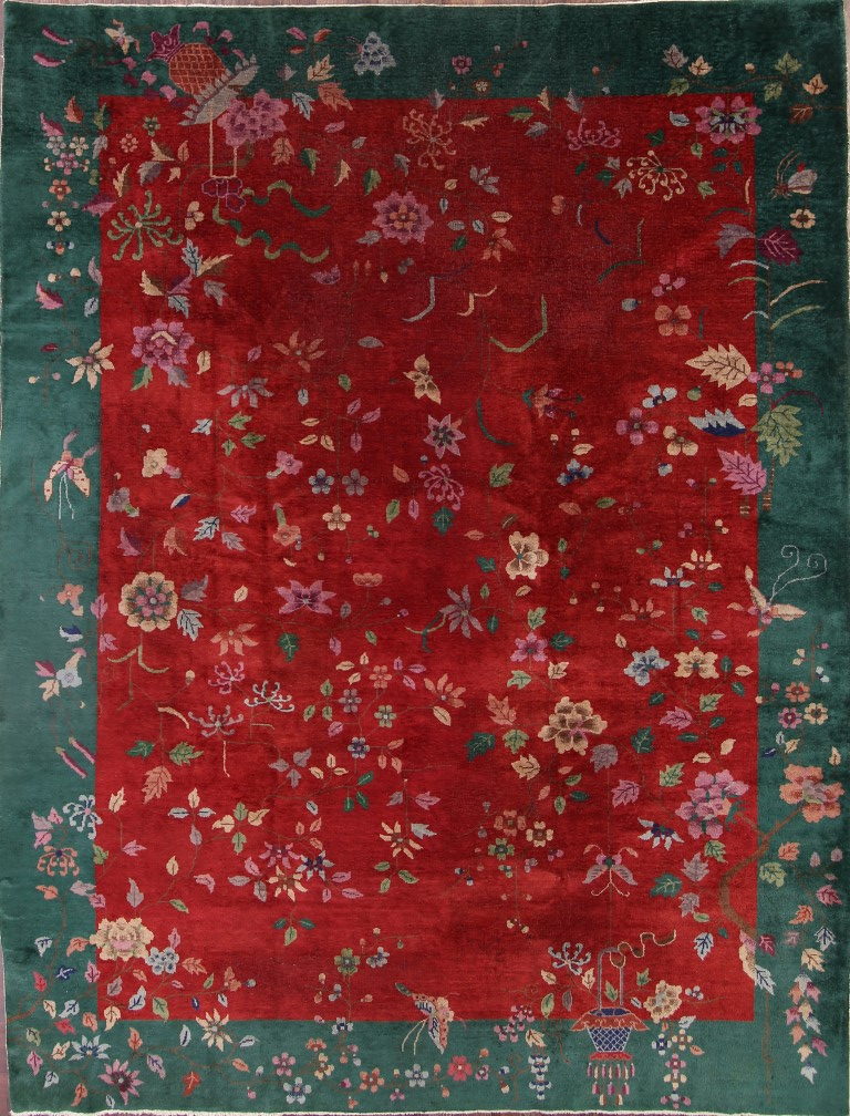 8'11 x 11'8 Hand-knotted Antique Wool Chinese Art Deco Nichols Rug 12980537 (1)