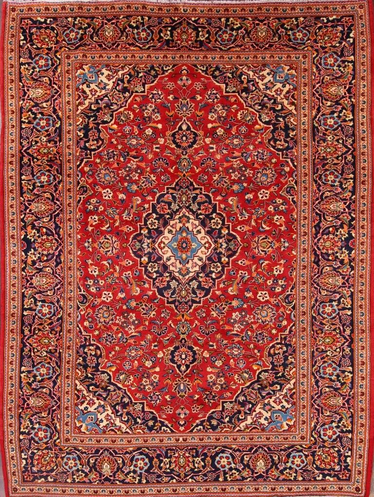 8'2 x 10'9 Hand-knotted RedNavy Persian Kashan Oriental Area Rug 12980451 (1)