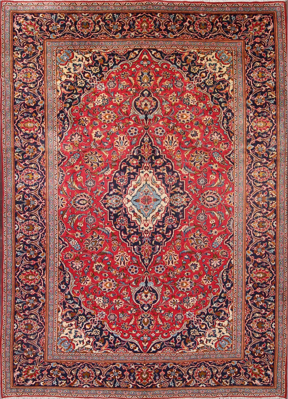 8'2 x 11'8 Hand-knotted Semi-Antique RedNavy Persian Kashan Oriental Area Rug 12980470 (1)