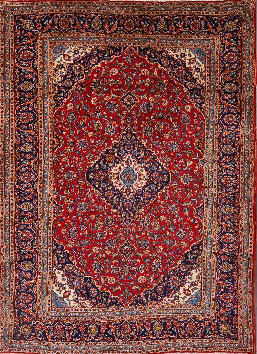 8'3 x 11'5 Hand-knotted RedNavy Persian Kashan Oriental Area Rug 12980461 (2)