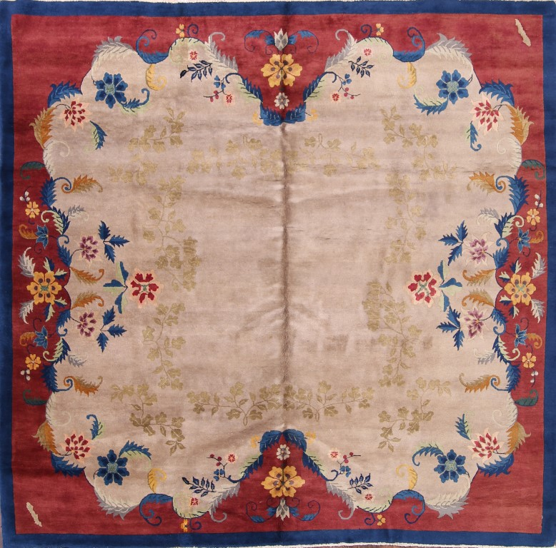 8'8 x 8'11 Hand-knotted Antique Wool Chinese Art Deco Nichols Rug 12980529 (1)