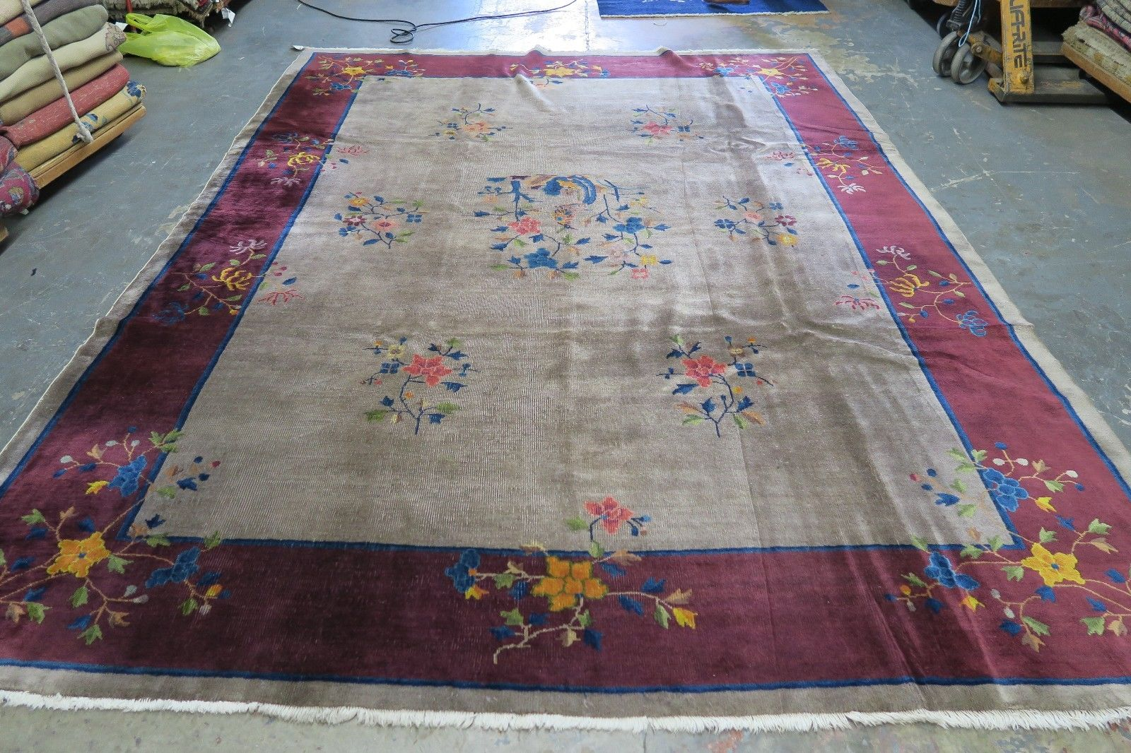 8'9 x 11'3 Hand-knotted ca.1940s Antique Wool Chinese Art Deco Rug 12980548 (1)