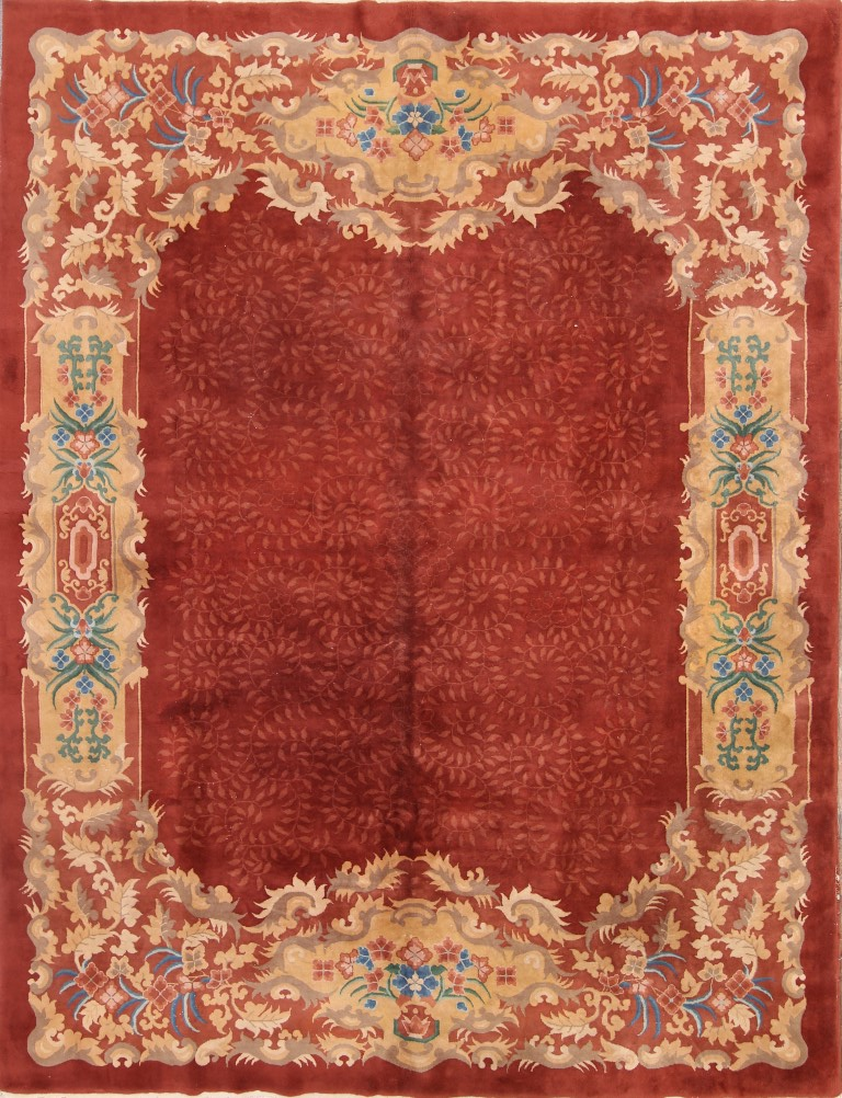 8'9 x 11'4 Hand-knotted Antique Wool Chinese Art Deco Red Rug 12980515 (1)