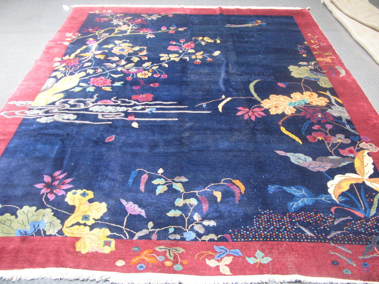 8'9 x 11'9 Hand-knotted ca.1940s Antique Wool Chinese Art Deco Blue Rug 12980549 (1)
