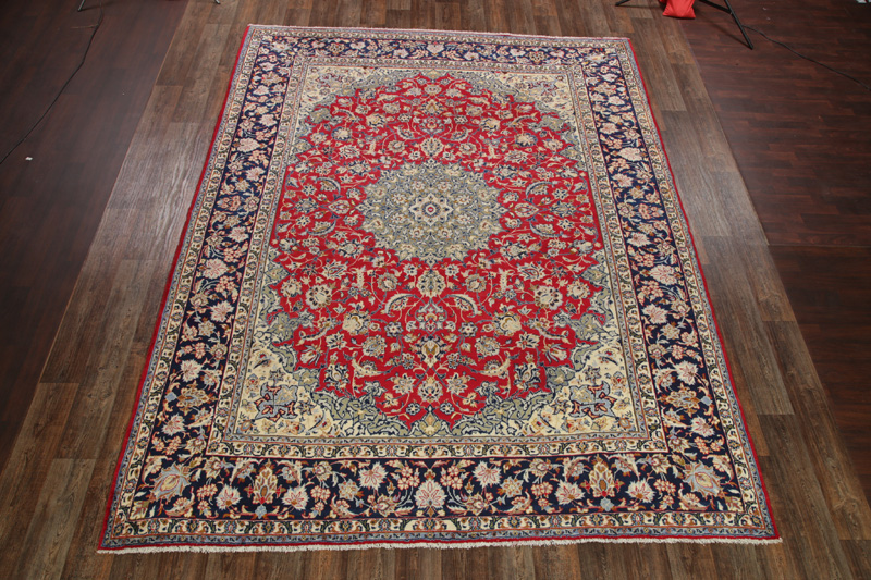 9'11 x 12'10 Hand-knotted Red Persian Najafabad Isfahan Oriental Area Rug 12980455 (1)