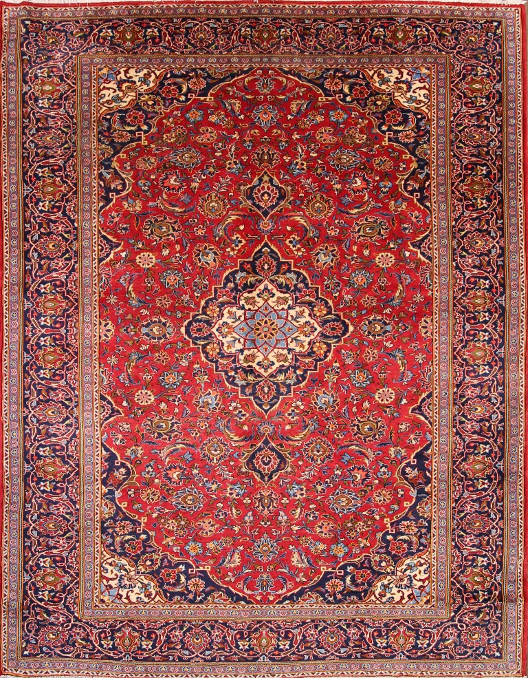 9'4 x 11'10 Hand-knotted Semi-Antique RedNavy Persian Kashan Oriental Area Rug 12980476 (1)