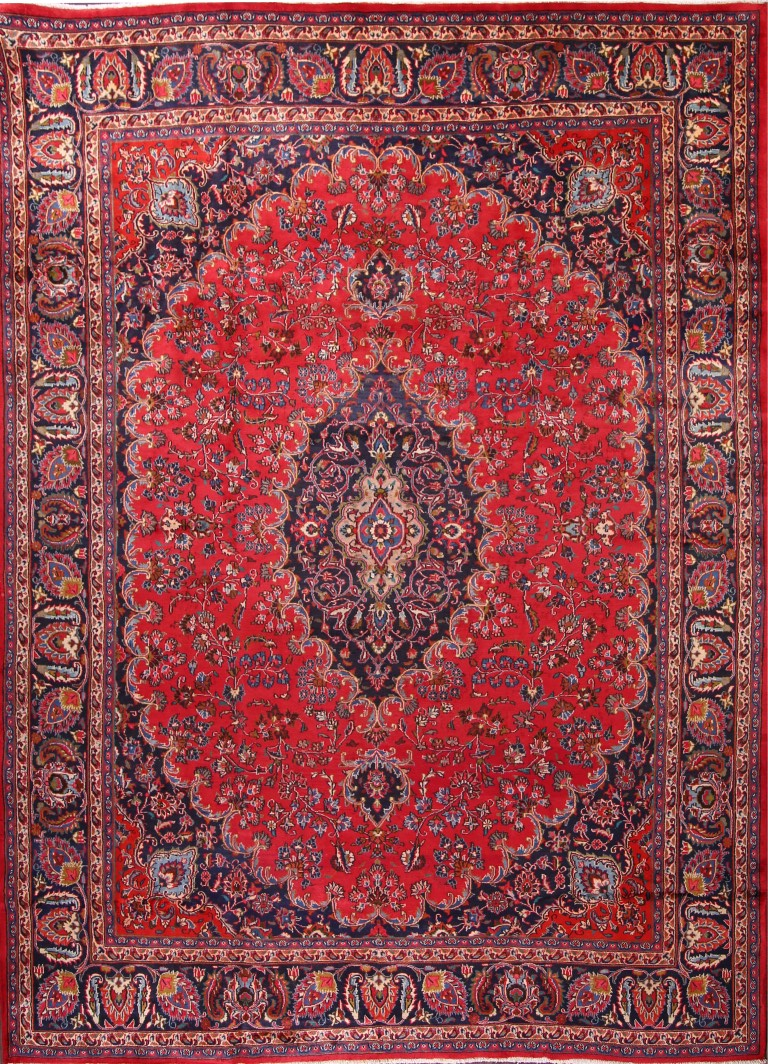 9'5 x 12'7 Hand-knotted Red Persian Mashad Oriental Area Rug 12980464 (1)