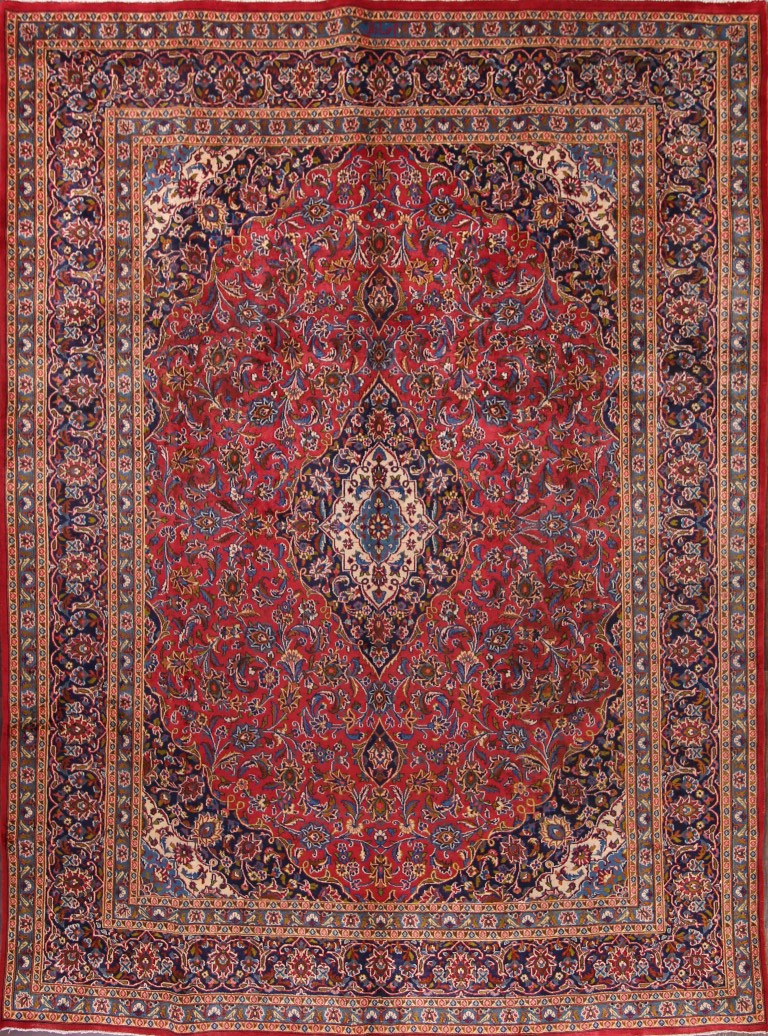 9'5 x 12'9 Hand-knotted Red Persian Mashad Oriental Area Rug 12980463 (1)