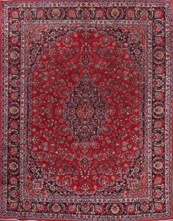 9'6 x 12'6 Hand-knotted Red Persian Mashad Oriental Area Rug 12980462 (1)