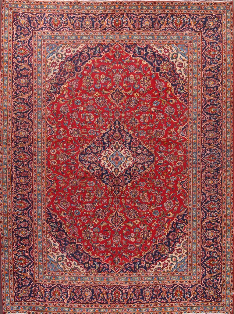 9'6 x 12'9 Hand-knotted Semi-Antique RedNavy Persian Kashan Oriental Area Rug 12980472 (1)