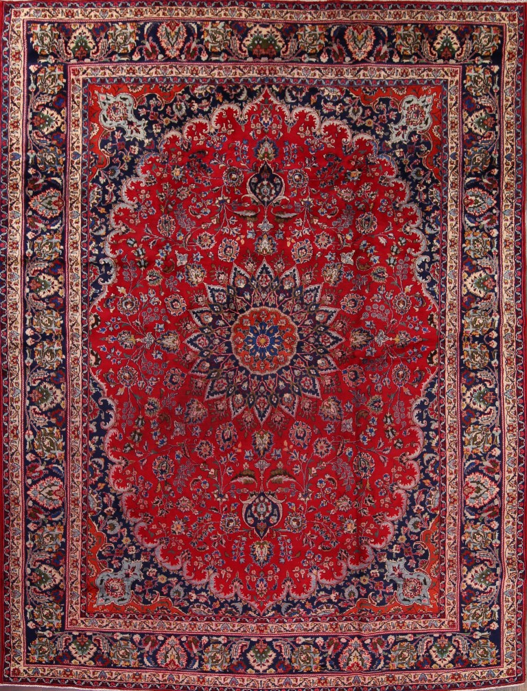 9'7 x 12'6 Hand-knotted Semi-Antique Red Persian Mashad Oriental Area Rug 12980469 (1)