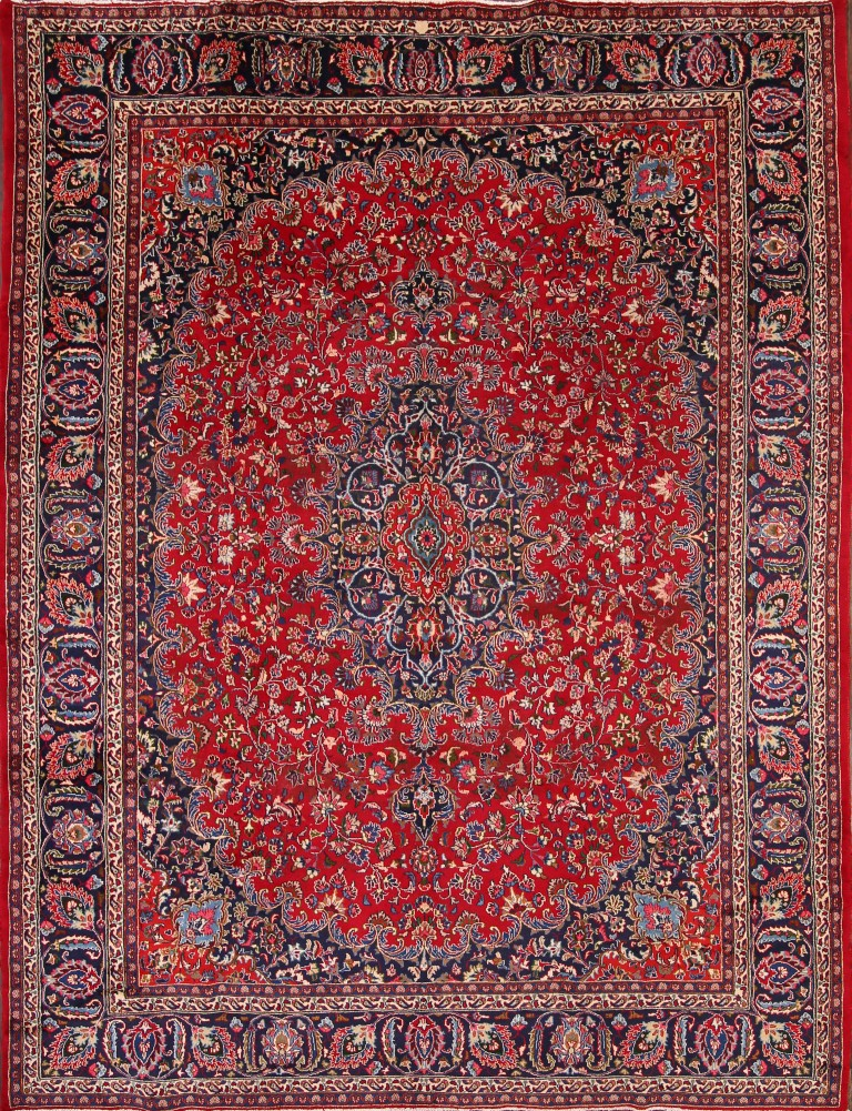 9'7 x 12'7 Hand-knotted Semi-Antique Red Persian Mashad Oriental Area Rug 12980468 (1)