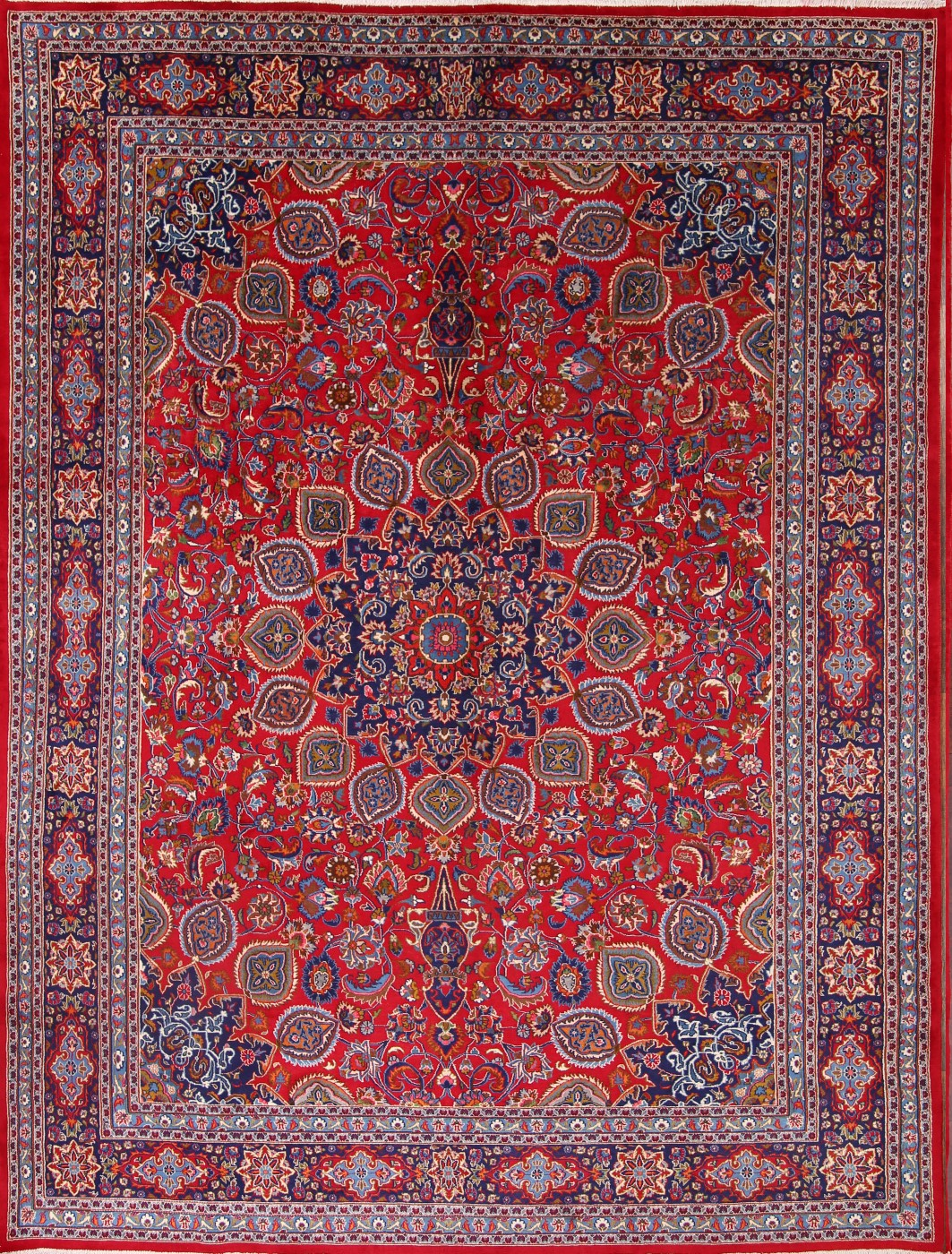 9'9 x 12'10 Hand-knotted Red Persian Mashad Oriental Area Rug 12980466 (1)