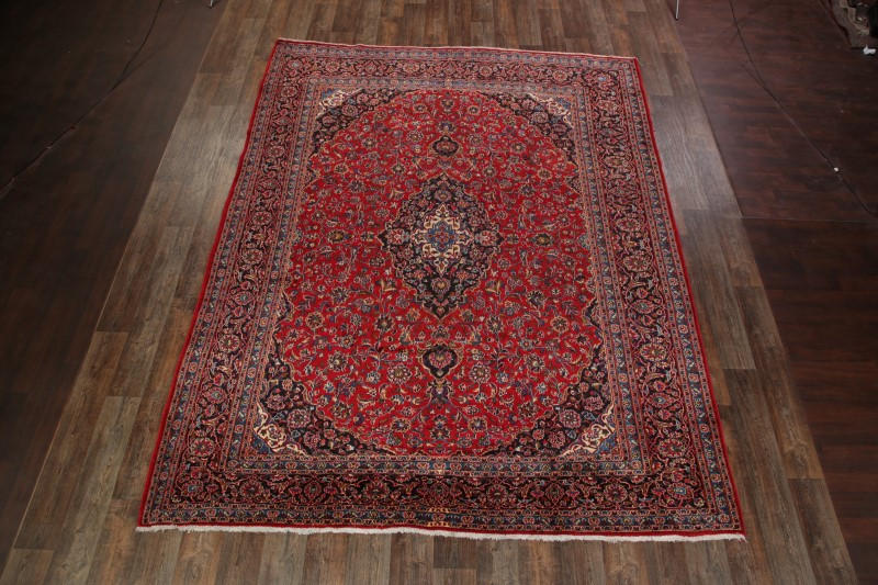 9'9 x 12'6 Hand-knotted Semi-Antique Red Persian Mashad Oriental Area Rug 12980467 (1)
