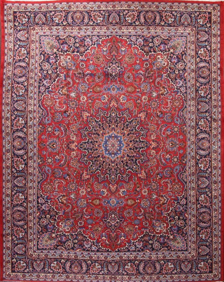 9'9 x 12'7 Hand-knotted Red Persian Mashad Oriental Area Rug 12980460 (1)