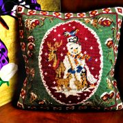 Green Snowman Christmas Pillow
