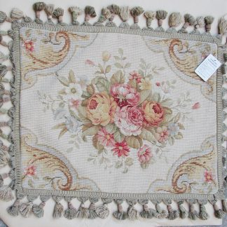 "16"" x 20"" Handmade Wool Needlepoint Petit Point Floral Roses Cushion Cover Pillow Case 12980414"