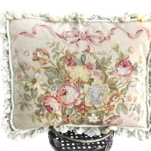 "16"" x 16"" Handmade Wool Needlepoint Petit Point Ribbon on Basket of Flowers Cushion Cover Pillow Case"