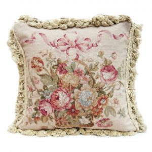 """18"""" x 18"""" Handmade Wool Needlepoint Petit Point Ribbon on Basket of Flowers Cushion Cover Pillow Case"""