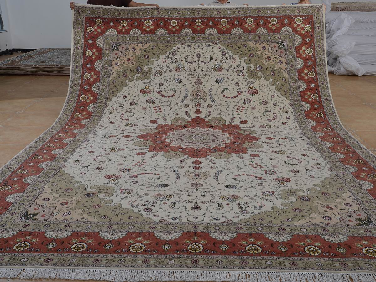 10′ x 14′ Hand-knotted Brand New Wool and Silk Sino-Persian Tabriz Oriental Area Rug 12980751