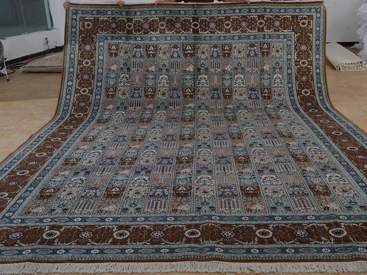10′ x 14′ Hand-knotted Brand New Wool and Silk Sino-Persian Tabriz Oriental Area Rug 12980752