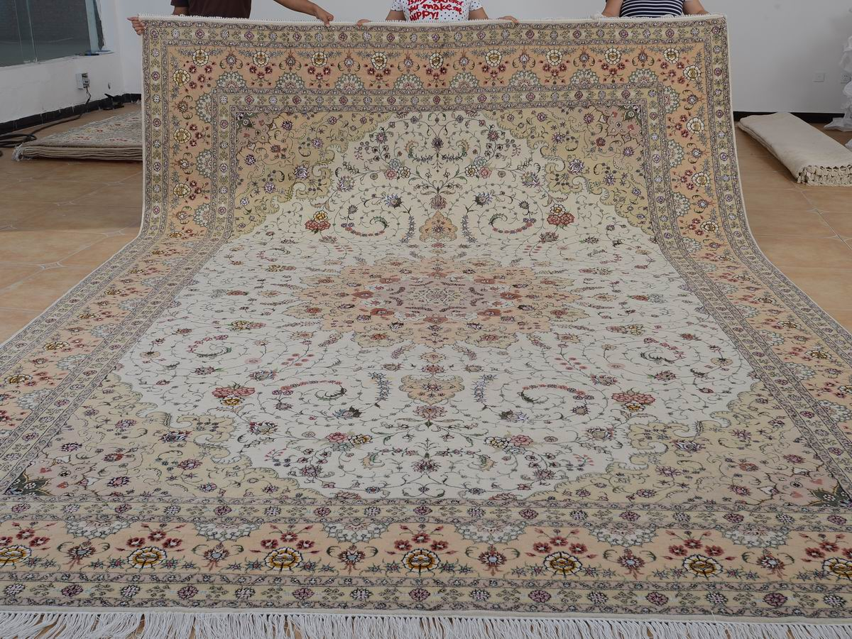 10′ x 14′ Hand-knotted Brand New Wool and Silk Sino-Persian Tabriz Oriental Area Rug 12980753