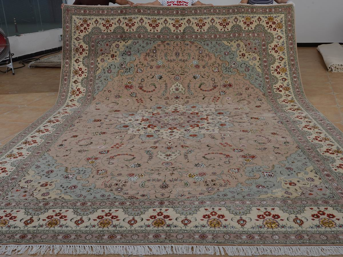 10′ x 14′ Hand-knotted Brand New Wool and Silk Sino-Persian Tabriz Oriental Area Rug 12980754