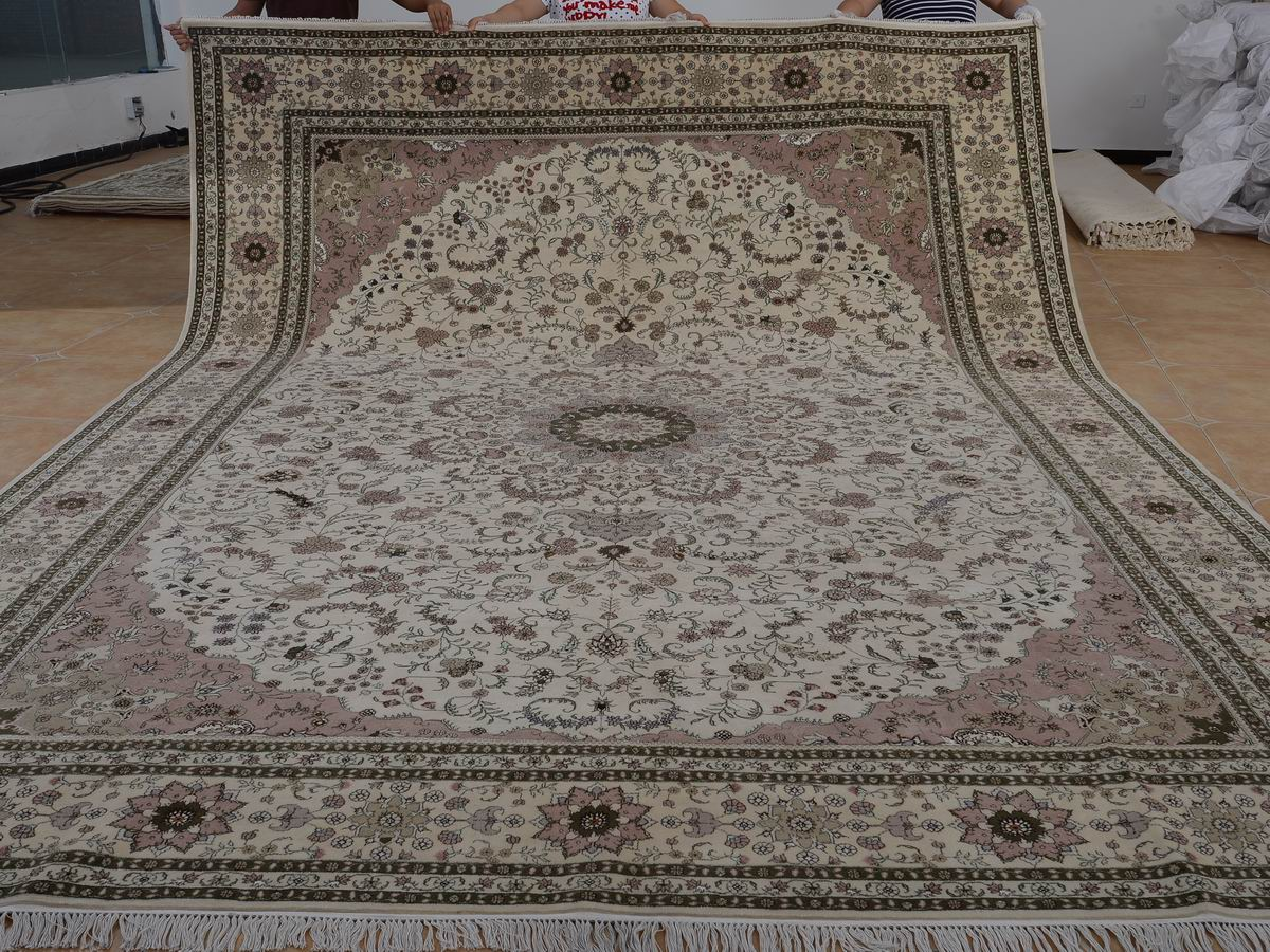10′ x 14′ Hand-knotted Brand New Wool and Silk Sino-Persian Tabriz Oriental Area Rug 12980755