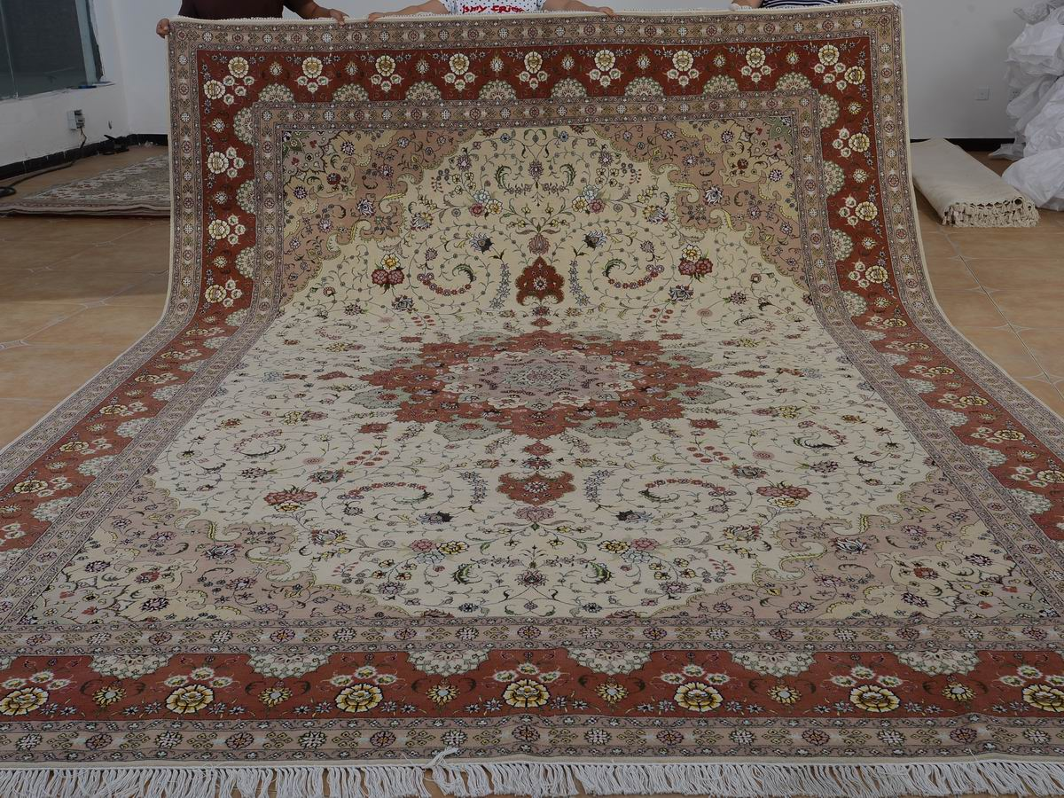 10′ x 14′ Hand-knotted Brand New Wool and Silk Sino-Persian Tabriz Oriental Area Rug 12980758