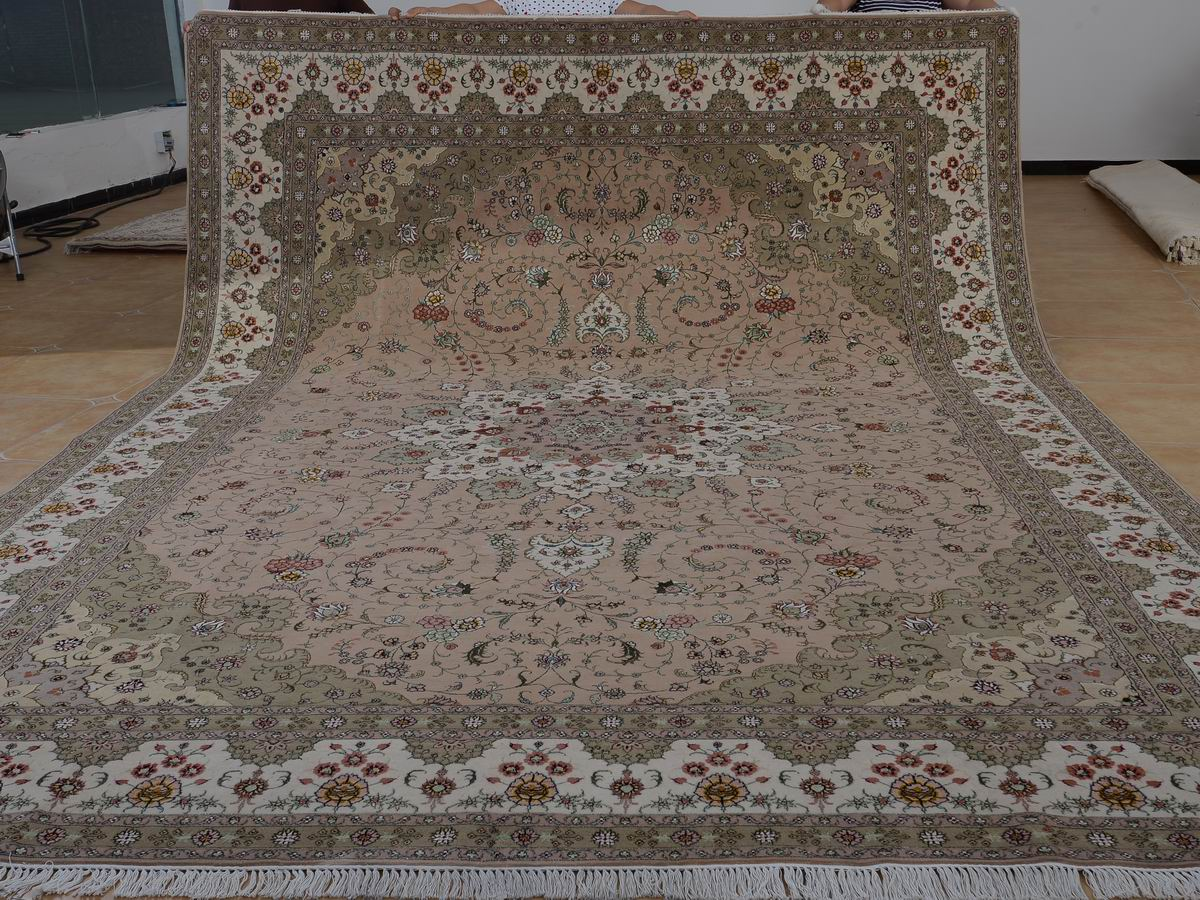 10′ x 14′ Hand-knotted Brand New Wool and Silk Sino-Persian Tabriz Oriental Area Rug 12980759
