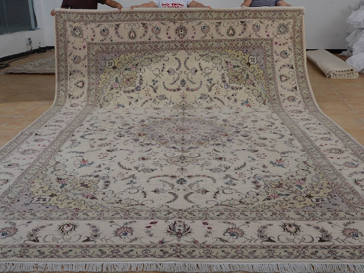 10′ x 14′ Hand-knotted Brand New Wool and Silk Sino-Persian Tabriz Oriental Area Rug 12980760