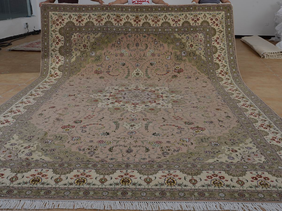 10′ x 14′ Hand-knotted Brand New Wool and Silk Sino-Persian Tabriz Oriental Area Rug 12980761