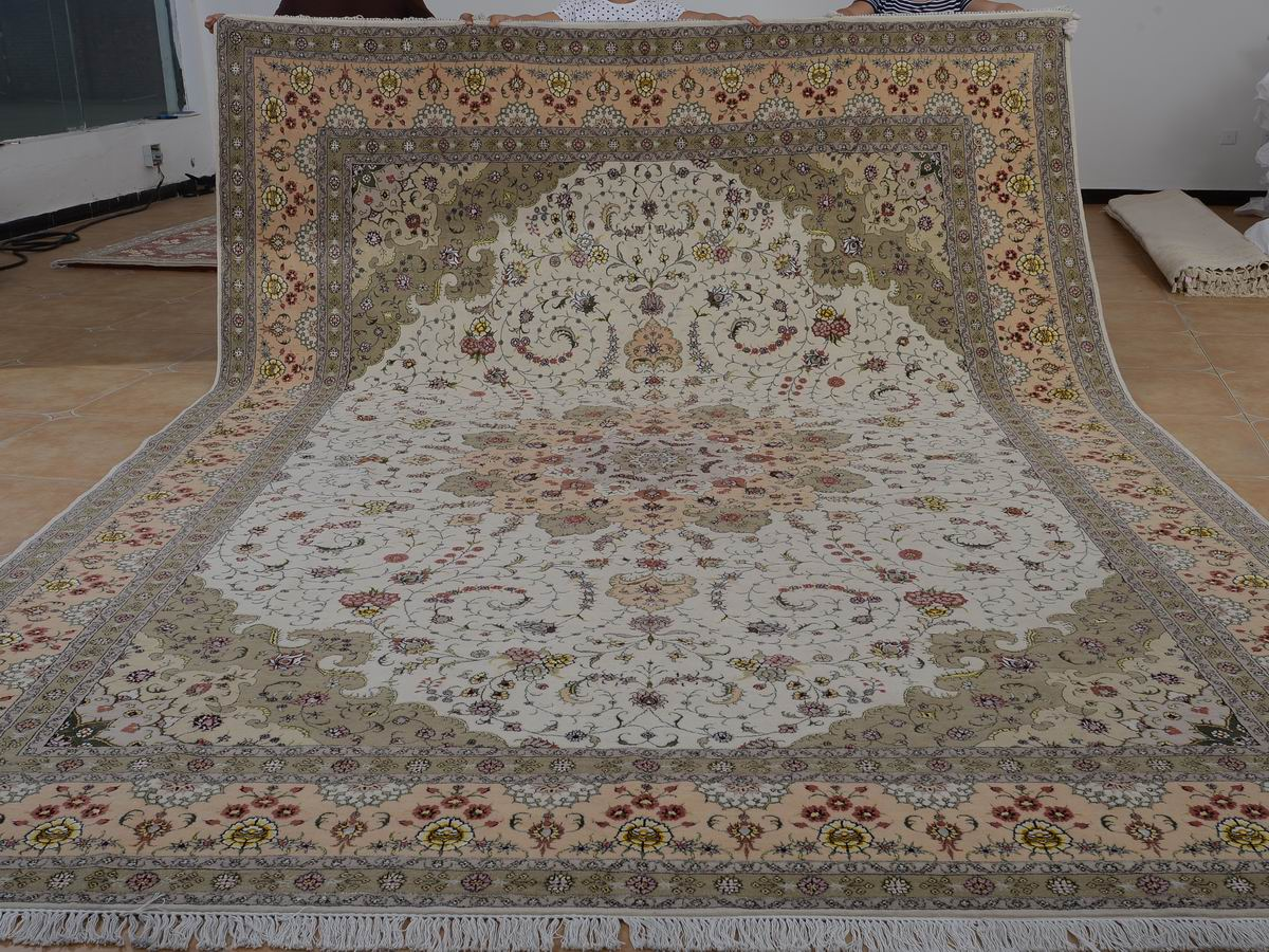 10′ x 14′ Hand-knotted Brand New Wool and Silk Sino-Persian Tabriz Oriental Area Rug 12980763