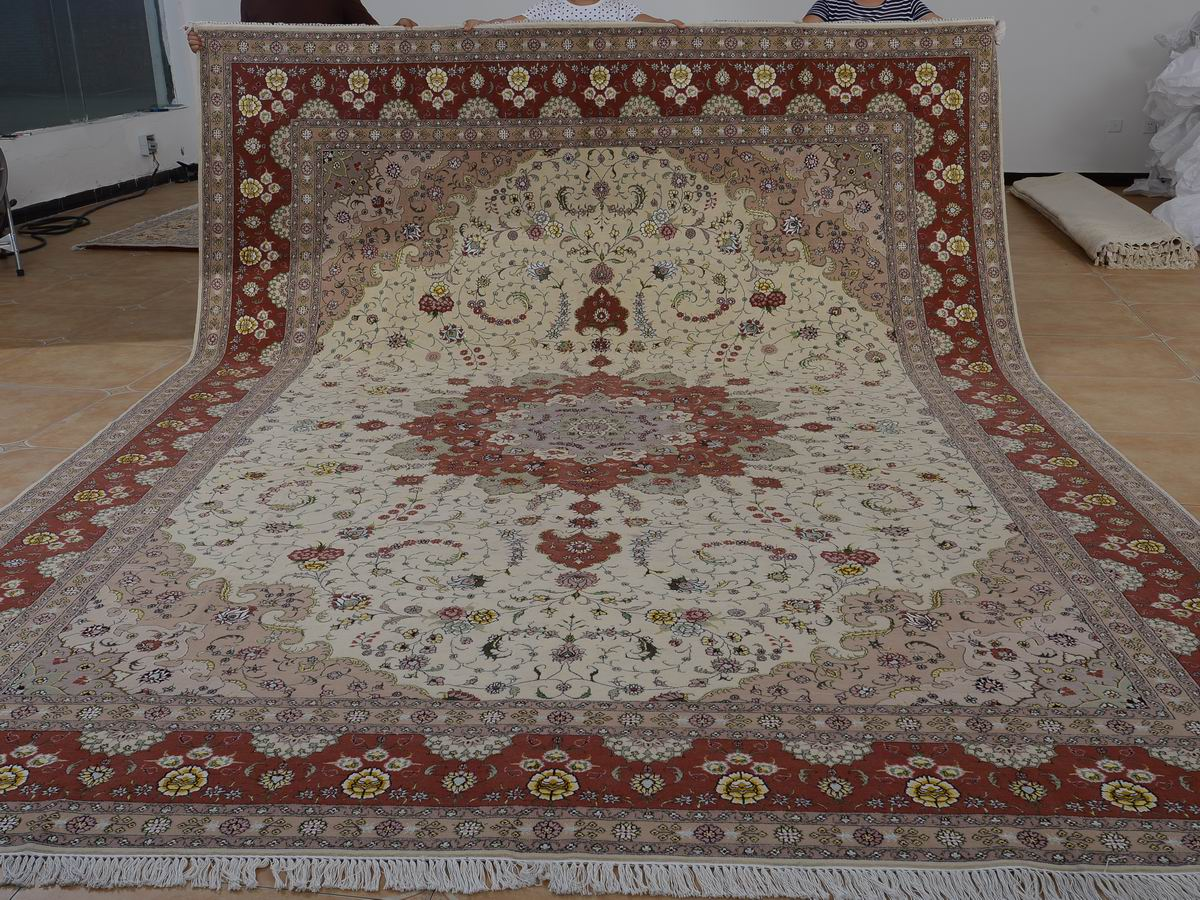 10′ x 14′ Hand-knotted Brand New Wool and Silk Sino-Persian Tabriz Oriental Area Rug 12980764