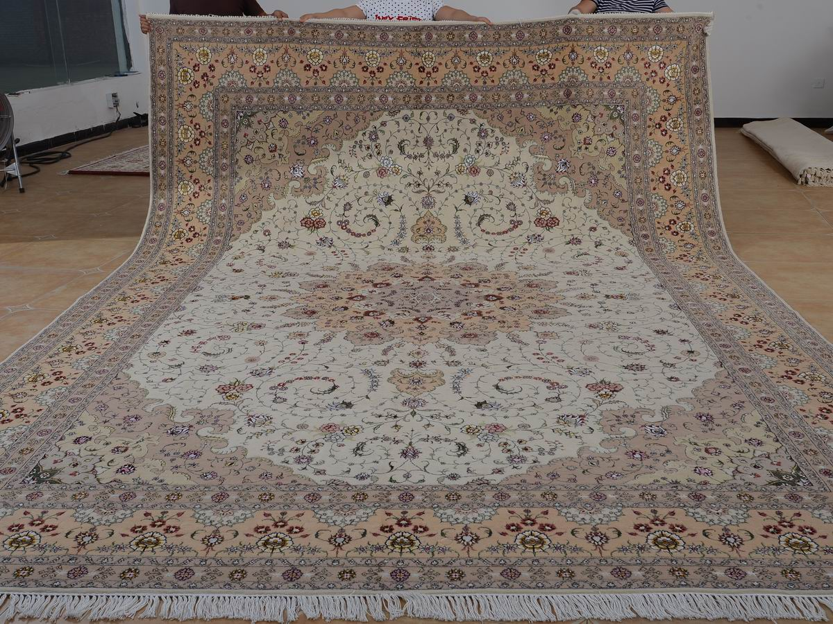 10′ x 14′ Hand-knotted Brand New Wool and Silk Sino-Persian Tabriz Oriental Area Rug 12980765