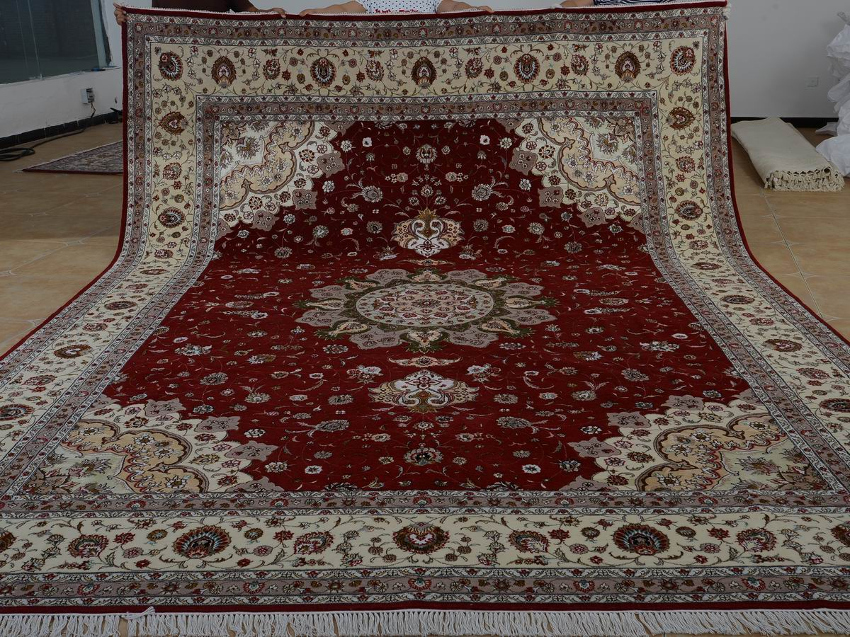 10′ x 14′ Hand-knotted Brand New Wool and Silk Sino-Persian Tabriz Oriental Area Rug 12980766