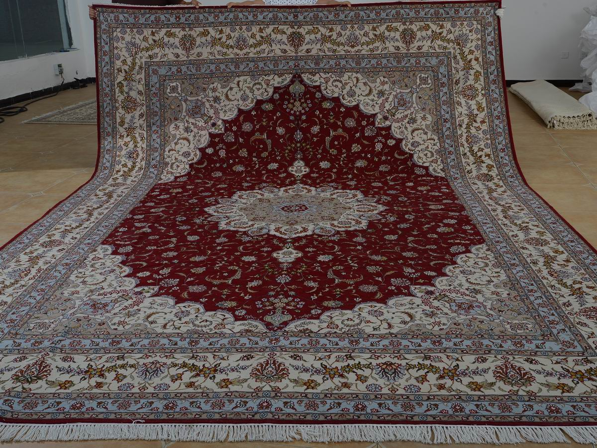 10′ x 14′ Hand-knotted Brand New Wool and Silk Sino-Persian Tabriz Oriental Area Rug 12980767