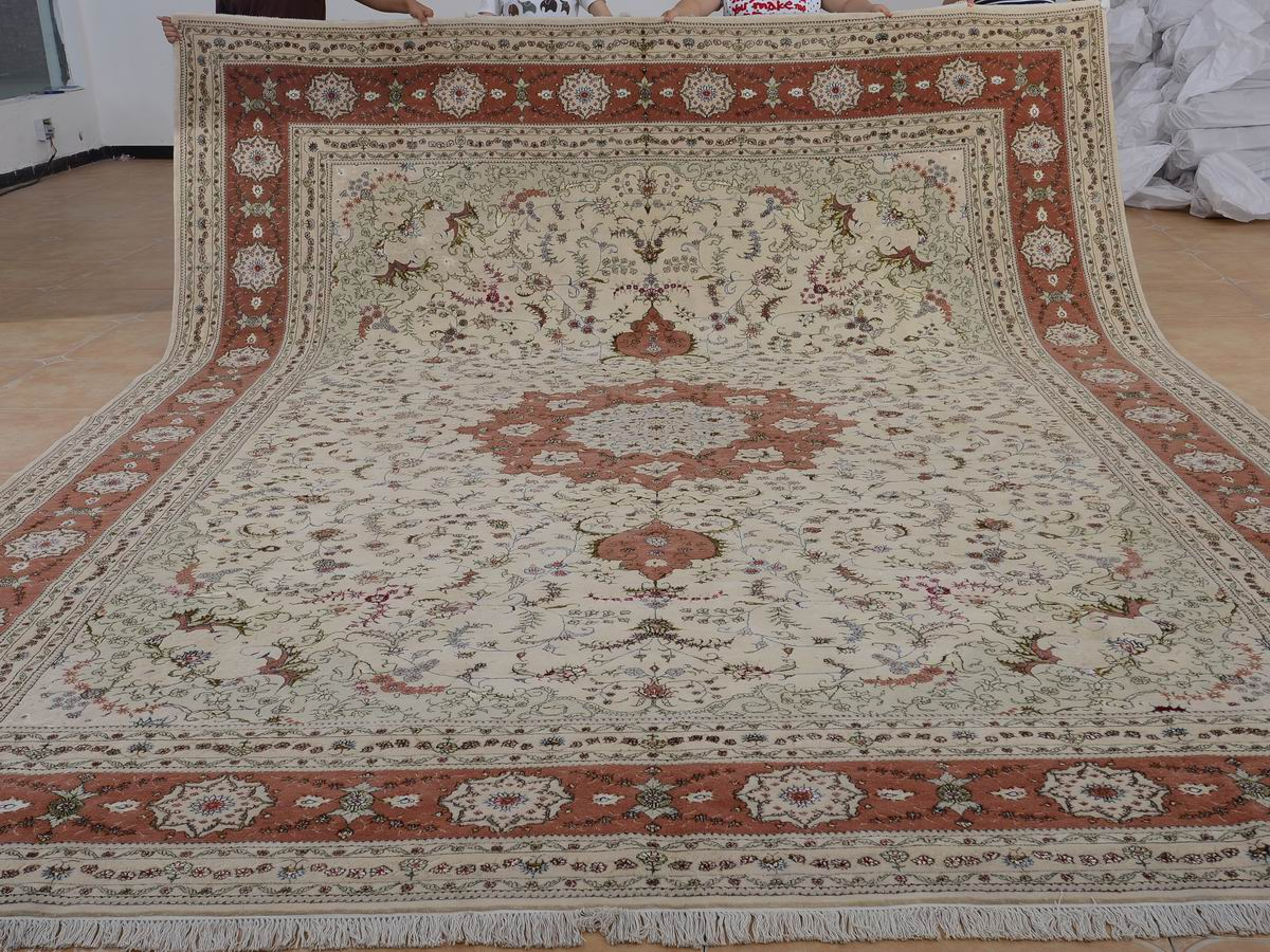 11′ x 15′ Hand-knotted Brand New Wool and Silk Sino-Persian Tabriz Oriental Area Rug 12980770