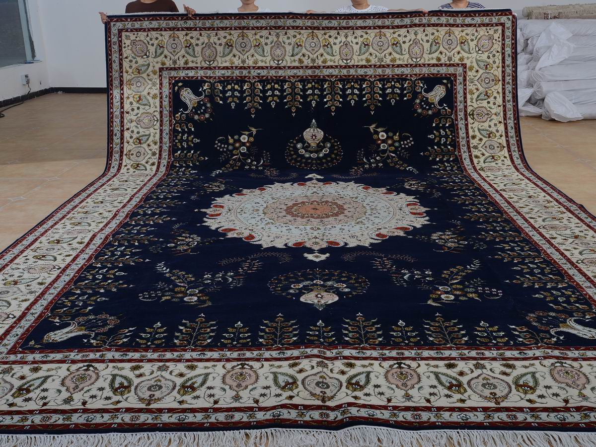 11′ x 16′ Hand-knotted Brand New Wool and Silk Sino-Persian Tabriz Oriental Area Rug 12980773